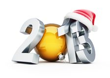 Happy new year 2013 santa hat. Happy new year 2012 santa hat on white background Stock Photography