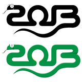 Happy new year 2013 snake. On white background Royalty Free Stock Images