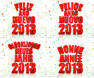 Happy New year 2013 in various languages Stock Photos