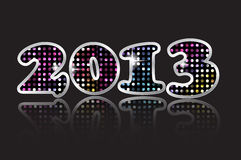 Happy New Year 2013 Vector. Happy new year 2013, Mosaic and metal with glow Vector Royalty Free Stock Images