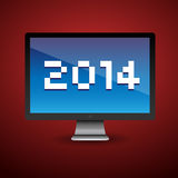 Happy new year 2014. Message on pc screen Stock Photography