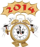 Happy new year 2014. New year's ringing clock with a dial smiling royalty free illustration