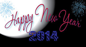 Happy New Year 2014. Happy New Year celebration banner with full moon and fireworks Royalty Free Stock Images
