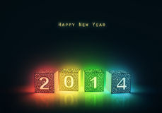 Happy New Year 2014. 3d glowing cubes with number two thousand fourteen Royalty Free Stock Photography