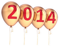 Happy New Year 2014 Balloons Party Decoration Gold Royalty Free Stock Photography