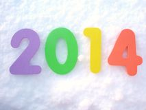 Happy New Year 2014 digits. Colorful Year 2014 digits on the snow vector illustration