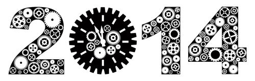 Happy New Year 2014 with Gears Illustration. Happy New Year 2014 with Mechanical Gears and Clock Black and White Illustration Stock Images
