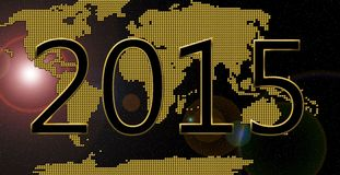 Happy new year 2015. Golden world happy new year 2015 Stock Photography