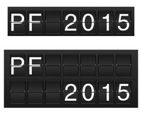 Happy new year 2015. Isolated PF 2015 in flipboard (flightboard, solari board) style vector illustration