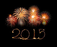 Happy New Year - 2015 made a sparkler Royalty Free Stock Photography
