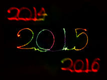 Happy New Year - 2015 sparkler Stock Photos
