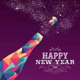 Happy New Year 2016 Color Triangle Champagne Stock Images
