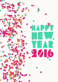 Happy New Year 2016 Confetti Party Holiday Poster Royalty Free Stock Images