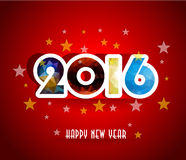 Free Happy New Year 2016 Greeting Card Stylized Triangle Polygonal Model Royalty Free Stock Image - 58332886