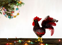 Free Happy New Year 2017 Of Rooster Card With Hand Made Craft Red Rooster Royalty Free Stock Image - 80041356