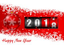 Free Happy New Year 2018 Illustration With Counter, Christmas Ball And Snowflakes Stock Photo - 106155620