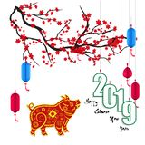 Happy New Year 2019. Chienese New Year, Year of the Pig. Cherry blossom background stock illustration