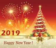 Happy New Year 2019 with a Christmas tree on a red background. Christmas tree on a red background with firework decorated with gold ribbon bow vector illustration