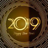 Happy New Year 2019 Greeting Card - Golden Numbers On Dark Background With Round Lines Design | EPS10 Vector Illustration Stock Photography