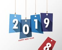 Happy New Year 2019 . Greetings Card. Colorful Design. Vector Illustration Royalty Free Stock Image