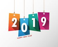 Happy New Year 2019. Greetings Card. Colorful Design. Vector Illustration Royalty Free Stock Photography