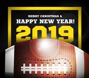 Happy New Year 2019 On The Background Of A Ball For American Football. Vector Stock Photo