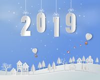 Happy new year 2019 on paper art background stock photography
