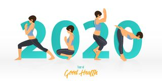 Free Happy New Year 2020 Banner With Yoga Poses. Year Of Good Health. Banner Design Template For New Year. Royalty Free Stock Image - 163690566