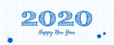 Happy New Year 2020 Greeting Poster. Handwritten Lettering Of Ink On White School Graph Sheet Of Paper, Square Grid Stock Photography