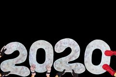 Happy New Year 2020 Isolated On Black Background With Copy Space For Text, For Holiday Card Royalty Free Stock Photos