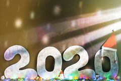 Happy New Year 2020 Isolated On Black Background With Copy Space For Text, For Holiday Card. Blurred Snowflakes, Snow Royalty Free Stock Images