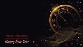 Free Happy New Year 2020 On Black Backgrounds Glow With Golden Clock. Beautiful Christmas Template. Winter Celebration Poster. Bright Royalty Free Stock Image - 161597336