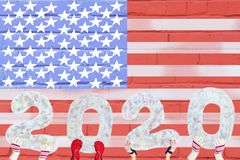 Happy New Year 2020 On The Background Of The Flag Of America, With A Copy Of The Space For Text, For A Holiday Card Stock Photography