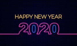 Free Happy New Year 2020 Poster Celebration With Glowing Neon Light Effect On Dark Blue Brick Background Vector Illustration Royalty Free Stock Photography - 163859177