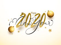 Free Happy New Year 2020 Text Decorated With Golden Baubles And Stars Royalty Free Stock Image - 166366236