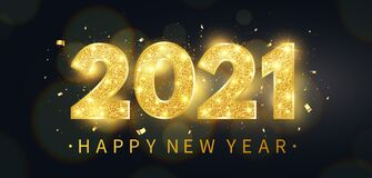 Free Happy New Year 2021 Background. Luxury Holiday Banner With Golden Glitter Numbers, Bokeh Lights And Confetti. Gold Stock Photos - 195012963