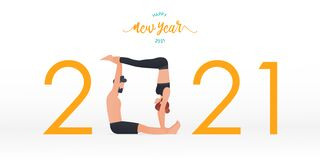 Free Happy New Year 2021 Banner With Yoga Poses. Year Of Good Health. Banner Design Template For New Year 2021 Decoration In Yoga Poses Stock Photos - 202230503