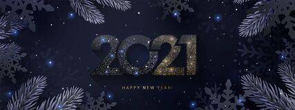 Free Happy New Year 2021 Beautiful Sparkling Design Of Numbers On Dark Elegant Background. Holiday Illustration For Greeting Card, Bann Royalty Free Stock Images - 183958869
