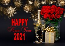Free Happy New Year 2021 Champagne Gift Red Flowers Golden Fireworks Royalty Free Stock Photos - 205561418
