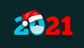 Happy New Year 2021. Figures Under The Hat Of Santa Claus And Medial Face Mask. Vector Illustration Stock Photography