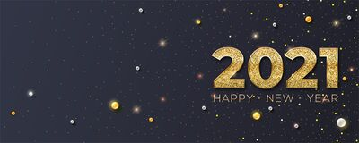 Happy New Year 2021. Glittering Golden Dust And Pearls On Black Background. New Years Poster, Headers For Website Royalty Free Stock Photo