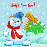 Happy new year!. A picture of snowman with plate 2012 Stock Photos