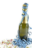 Happy new year. Champagne bottle, confetti and streamers on white background. New year celebration concept. Useful also for birthday,anniversary or party stock photo