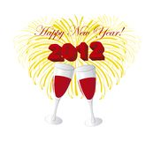 Happy new year. Wine glasses, happy new year 2012 over white background. vector Stock Photos