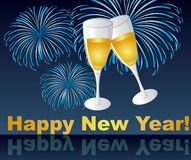Happy new year. Wine glasses on fireworks, happy new year. vector Stock Photos