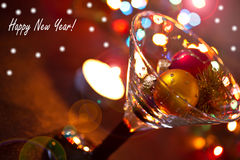 Happy New Year!. Glass balls with New Year's New Year's Eve Stock Image