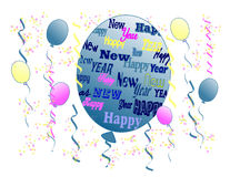 "Happy New Year. The words ""Happy New Year"" in different fonts, sizes, and colors on a balloon surrounded by other colored balloons, streamers, and confetti Stock Image"