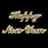 Happy new year. Bling bling gold and diamonds Stock Photos