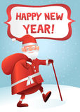 Happy new year. Greeting card Santa Claus stock illustration