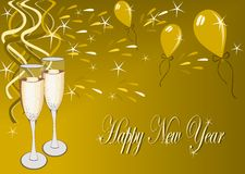 Happy new year. Illustration of gold backgruond with happy new year motive Royalty Free Stock Photo